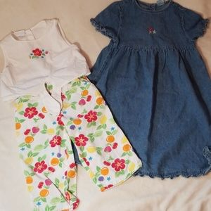 Denim dress and floral outfit 4t